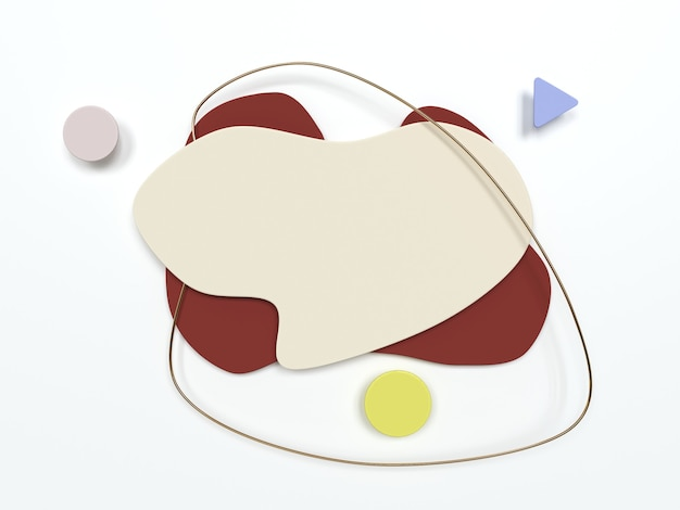 Abstracte moderne banner met 3d effect eenvoudige geometrische vormen 3d render