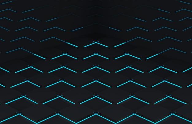 Abstracte moderne futuristische zwarte vierkante rasterplaat met blauwe lichte muur