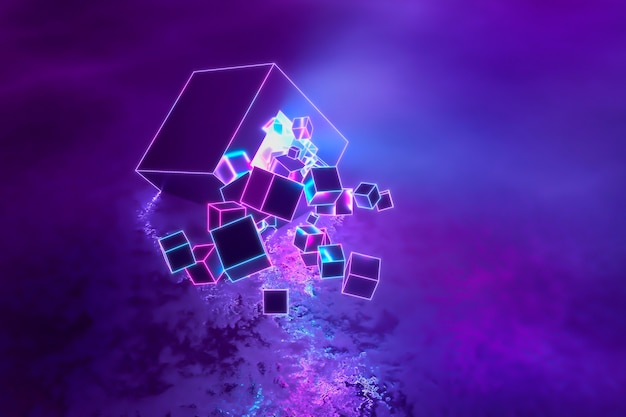 Abstracte moderne neon ultraviolet driedimensionale achtergrond, veel kubussen vliegen in een explosie in beweging van een enorme kubus die op de glanzende vloer ligt. 3d illustratie.