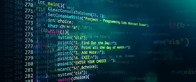 Abstracte moderne technologie van programmeercodeschermontwikkelaar
