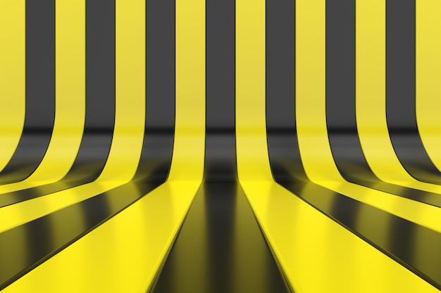 Abstracte muur van gele en zwarte strepen. 3d behangontwerp. 3d-weergave.