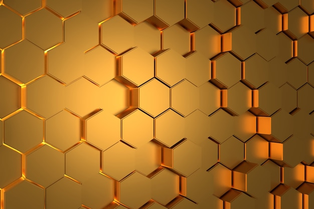 Abstracte muur van gouden zeshoek. 3d-weergave.