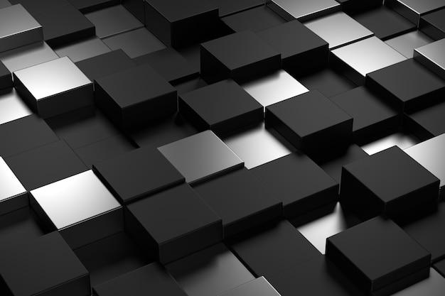 Abstracte muur van kubus met luxeconcepten. 3d-weergave.