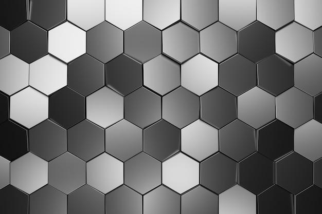 Abstracte muur van zeshoek. 3d-weergave.