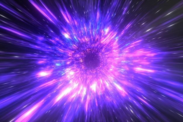 Abstracte mysterieuze hemelachtergrond, tunnel van de de storm de diepe stralen van het paradijs, de 3d illustratie van het heelalziel kanaal