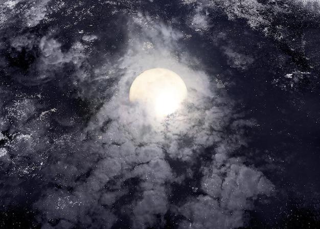 Abstracte nachtelijke hemel met volle maan voor halloween achtergrond.