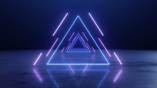 Abstracte neon driehoekentunnel