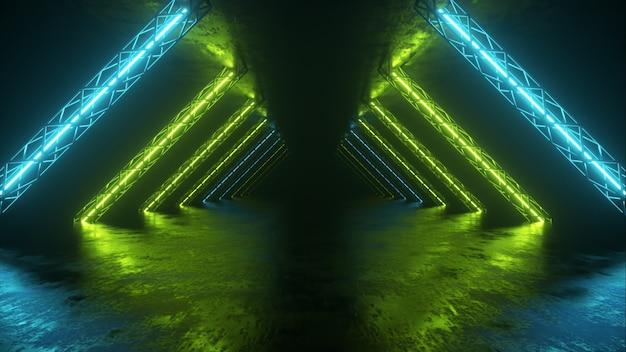 Abstracte neonachtergrond die vooruit door de gang vliegt, gloeiende groenblauwe lijnen verschijnen. 3d illustratie