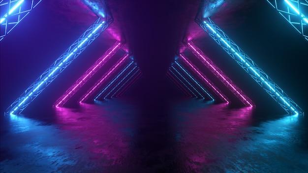 Abstracte neonachtergrond die vooruit door de gang vliegt, gloeiende roze blauwe lijnen verschijnen, ultraviolet spectrum. 3d illustratie