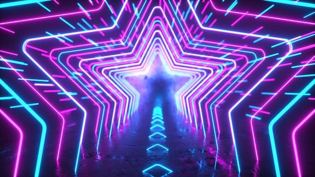 Abstracte neonachtergrond neonsterren en lijnen bewegen door ruimtebezinning futuristische achtergrond
