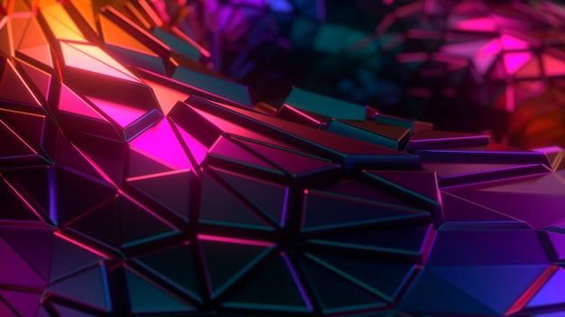 Abstracte neonkleuren 3d achtergrond met willekeurige veelhoekige vormen