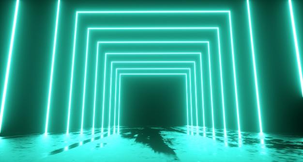 Abstracte neonlichtenachtergrond. 3d-weergave