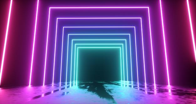 Abstracte neonlichtenachtergrond. render