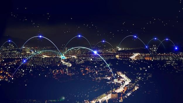 Abstracte netwerkverbinding scène