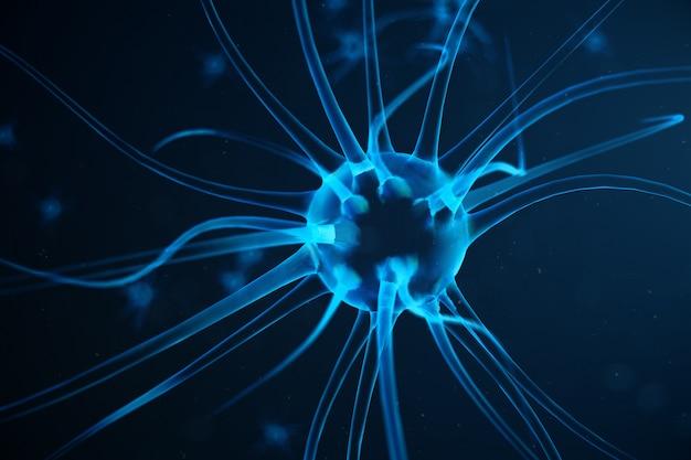 Abstracte neuroncellen met verbindingsknopen. synaps en neuroncellen die elektrische chemische signalen verzenden. neuron van onderling verbonden neuronen met elektrische pulsen, 3d illustratie