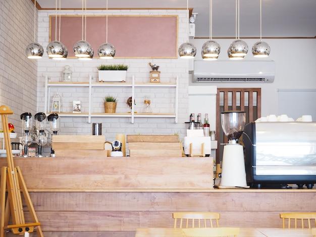Abstracte onduidelijk beeldachtergrond van de binnenlandse uitstekende stijl van de koffiewinkel