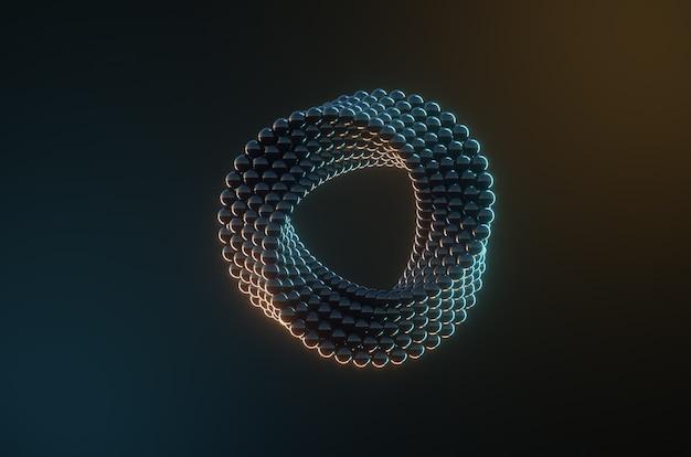 Abstracte onmogelijke vorm gemaakt met donkere metalen ballen
