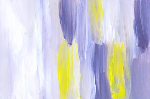 Abstracte paarse, witte en gele kunst het schilderen textuur als achtergrond