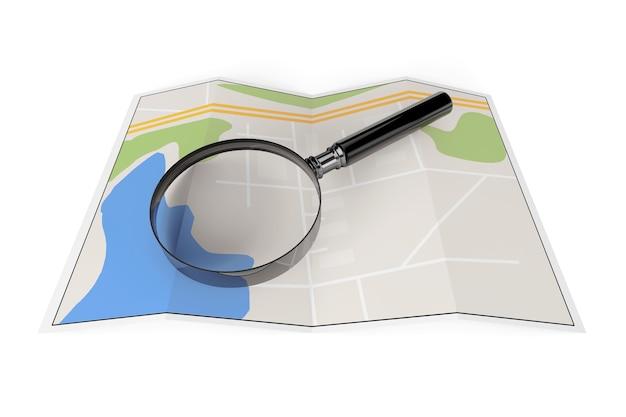 Abstracte papieren kaart met vergrootglas op een witte achtergrond