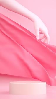 Abstracte pastel roze 3d-rendering scène met hand, stof en voetstuk.