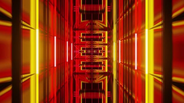 Abstracte perspectief 3d illustratie van dynamische herhalende geometrische ornamenten en gele neonlichten die eindeloze corridor vormen