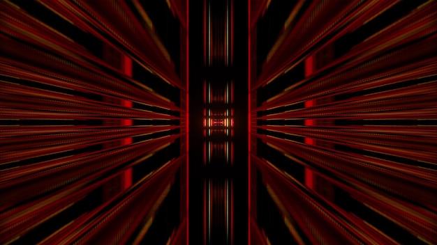 Abstracte perspectief 3d illustratie van geometrische tunnel gevormd door rode symmetrische vormen tegen zwarte achtergrond