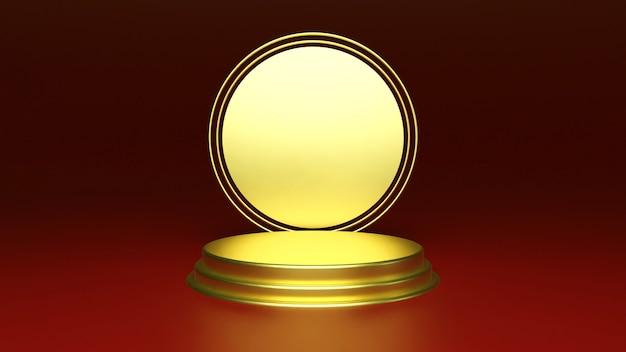 Abstracte platforms met gouden realistisch podium Premium Foto