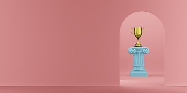 Abstracte podium blauwe kolom met een gouden trofee op de roze achtergrond met boog. het overwinningsvoetstuk is een minimalistisch concept. 3d-weergave.