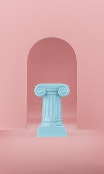 Abstracte podium blauwe kolom op de roze achtergrond met boog. het overwinningsvoetstuk is een minimalistisch concept. 3d-weergave.