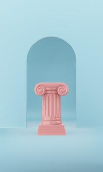 Abstracte podium roze kolom op de blauwe achtergrond met boog. het overwinningsvoetstuk is een minimalistisch concept. 3d-weergave.