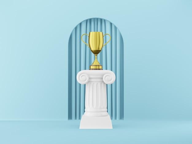 Abstracte podiumkolom met een gouden trofee op de blauwe achtergrond met boog. het overwinningsvoetstuk is een minimalistisch concept. 3d-weergave.
