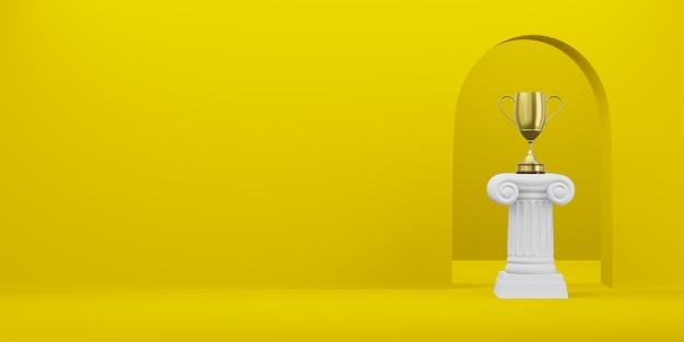 Abstracte podiumkolom met een gouden trofee op de gele achtergrond met boog. het overwinningsvoetstuk is een minimalistisch concept. vrije ruimte voor tekst. 3d-weergave.