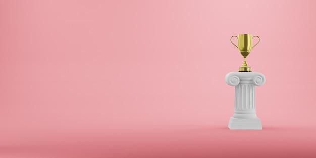 Abstracte podiumkolom met een gouden trofee op de roze achtergrond. het overwinningsvoetstuk is een minimalistisch concept. vrije ruimte voor tekst. 3d-weergave.
