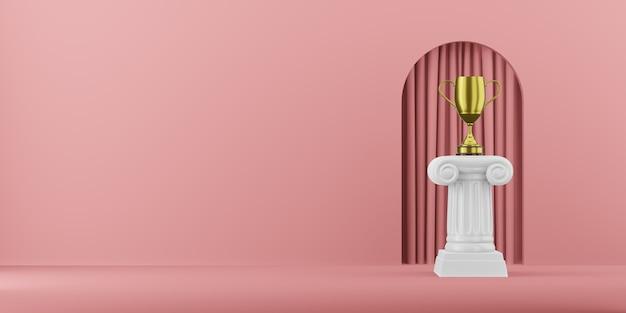 Abstracte podiumkolom met een gouden trofee op de roze achtergrond met boog. het overwinningsvoetstuk is een minimalistisch concept. 3d-weergave.
