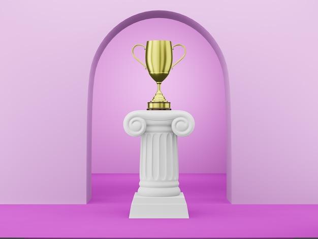 Abstracte podiumkolom met een gouden trofee op fuchsia