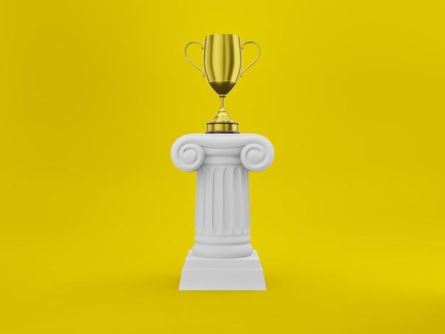 Abstracte podiumkolom met een gouden trofee op geel