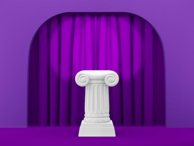 Abstracte podiumkolom op de fuchsia boog als achtergrond met fuchsia curtian. het overwinningsvoetstuk is een minimalistisch concept. 3d-weergave.