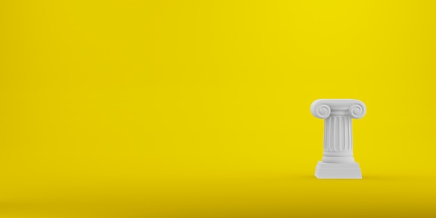 Abstracte podiumkolom op de gele achtergrond. het overwinningsvoetstuk is een minimalistisch concept. vrije ruimte voor tekst. 3d-weergave.