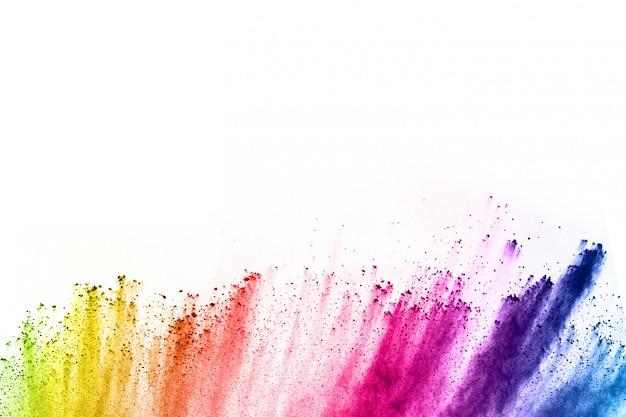 Abstracte poeder splatted achtergrond. kleurrijke poederexplosie op witte achtergrond.