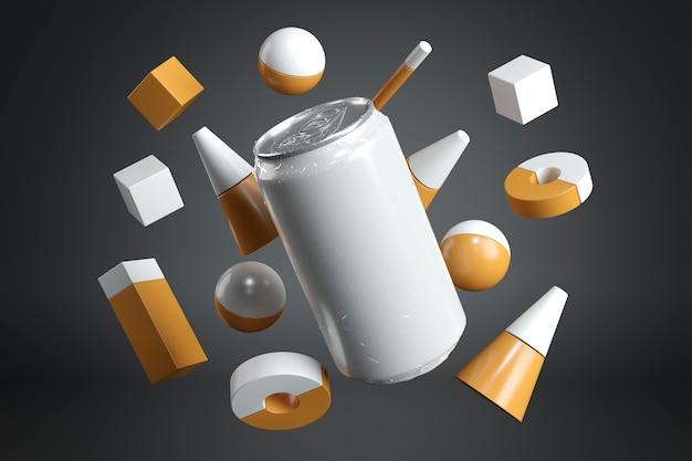 Abstracte presentatie van aluminium containers