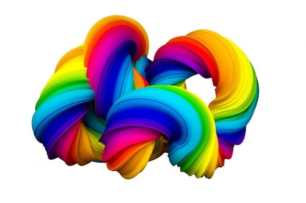 Abstracte regenboogvorm. 3d-weergave.