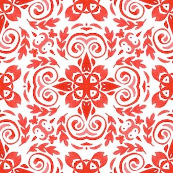 Abstracte rode en witte hand getrokken tegel naadloze sier aquarel verf patroon. pasen-ontwerp met bloem.
