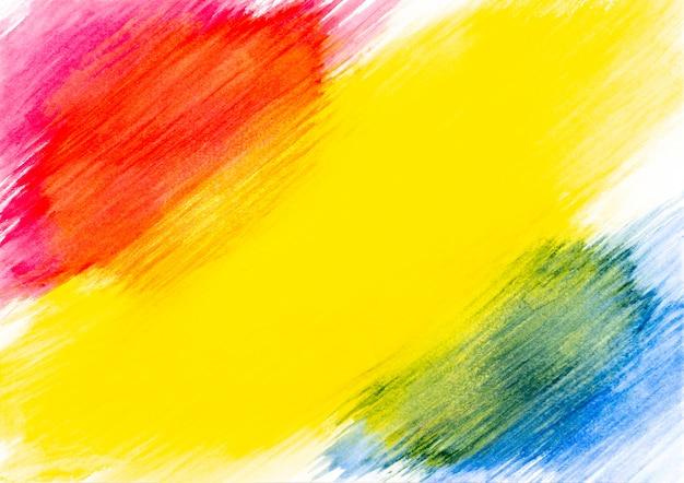 Abstracte rode gele en blauwe waterverf die op witboekachtergrond wordt geschilderd.