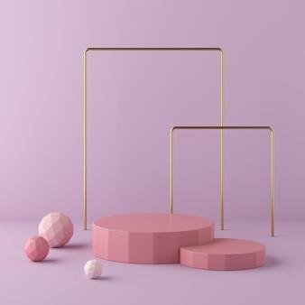 Abstracte roze achtergrond met geometrisch vormpodium. 3d-rendering
