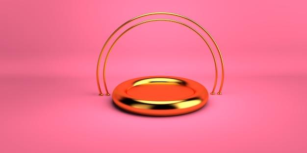Abstracte roze achtergrond met gouden geometrisch vormpodium voor product. minimaal concept. 3d-weergave. scène met geometrische vormen. 3d illustratie rendering