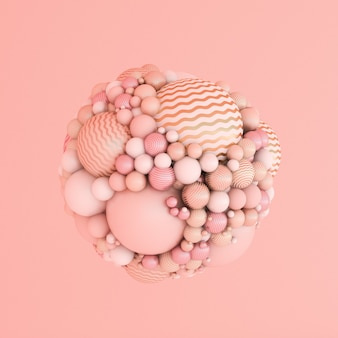 Abstracte roze achtergrond, studio minimalisme deeltje. 3d illustratie, 3d-rendering.