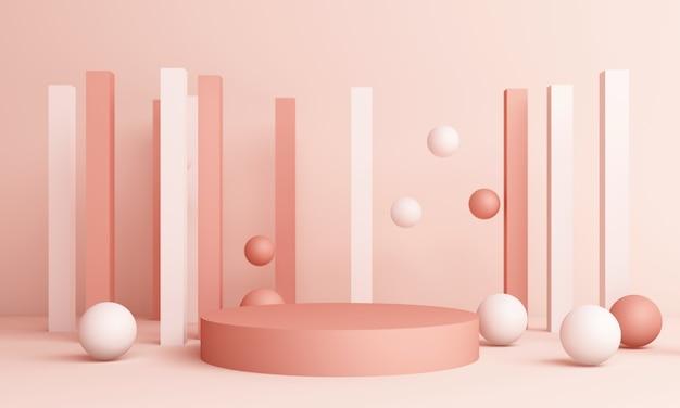Abstracte roze compositie met podium. minimale studio met ronde sokkel en kopie ruimte, geometrische vorm pastel, 3d-rendering