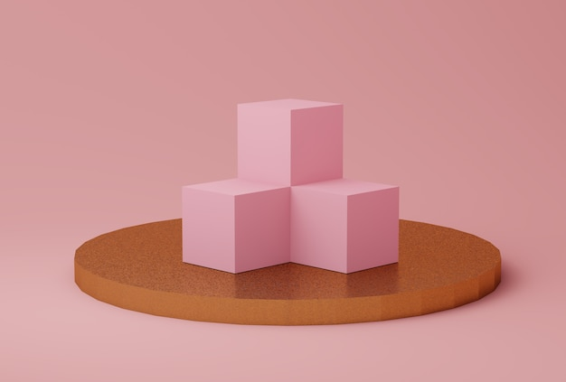 Abstracte roze en gouden kleurenscène met geometrische vormen