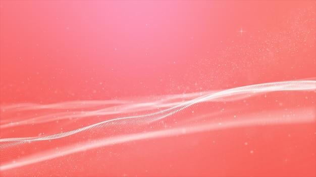 Abstracte roze kleur digitale deeltjesgolf met bokeh-achtergrond