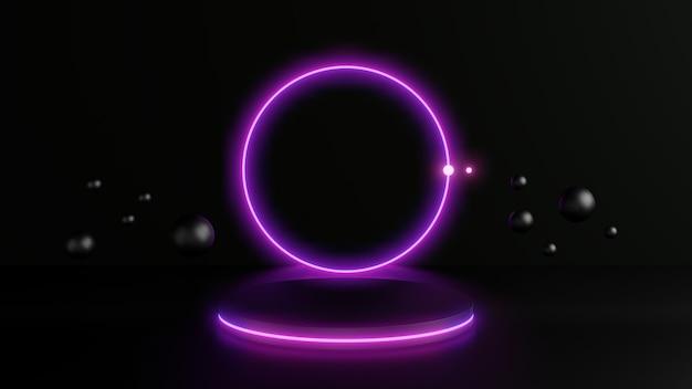 Abstracte roze neon achtergrond, led cirkel neon lijnen op zwart voetstuk omgeven door zwarte bollen. abstracte achtergrond. 3d-rendering.